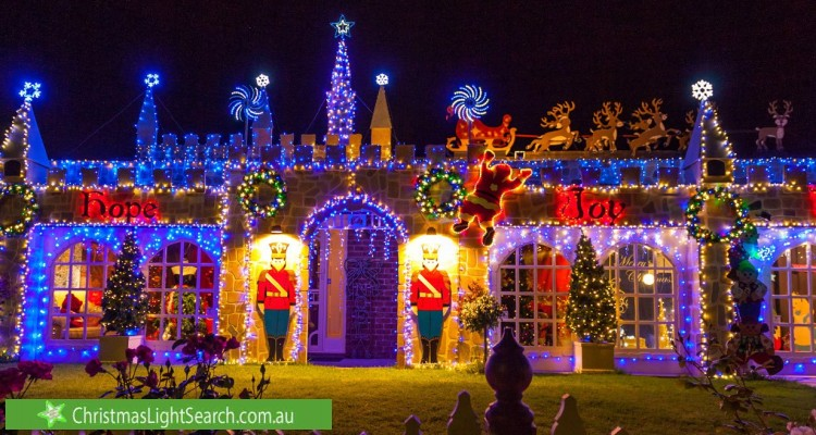 Christmas Light display at 9 Rothschild Street, Woodcroft